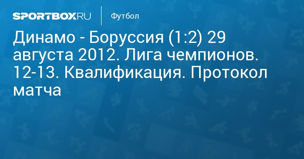 Динамо боруссия 29 августа счет