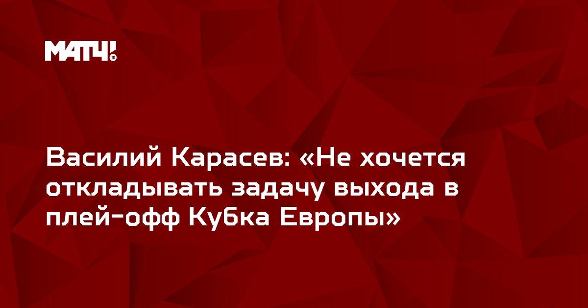 Василий Карасев: «Не хочется откладывать задачу выхода в плей-офф Кубка Европы»