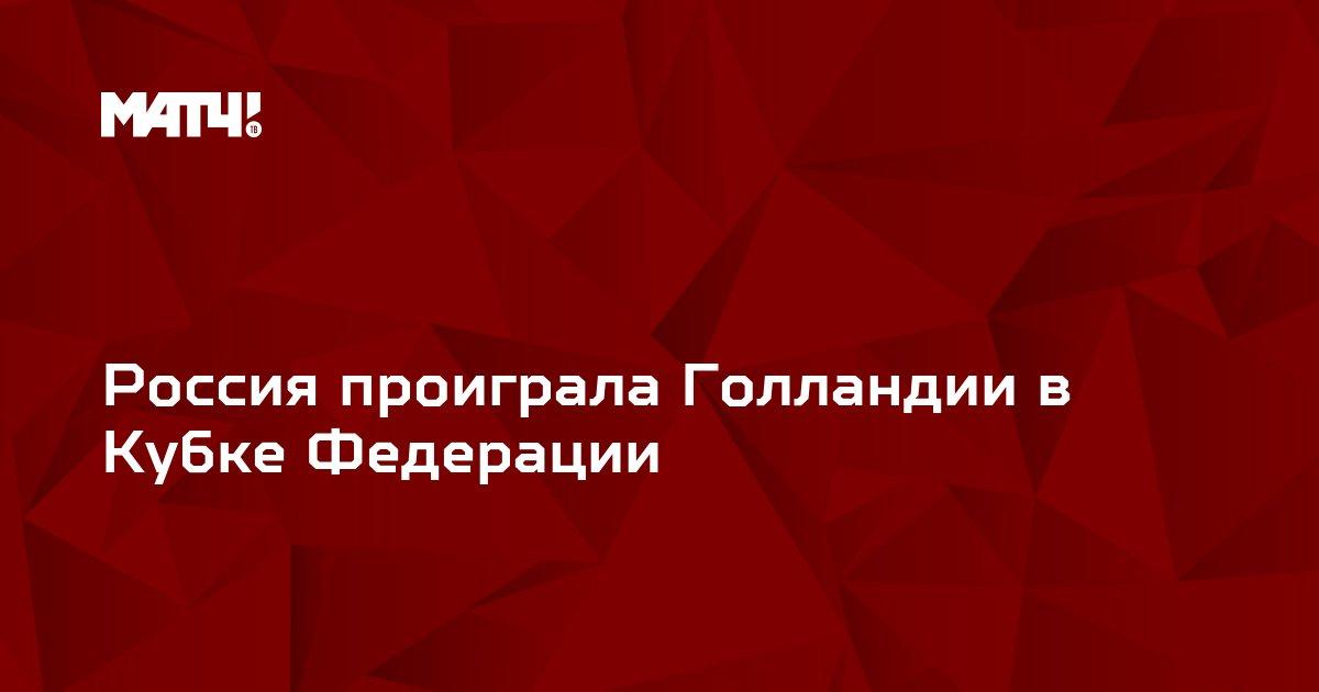 Россия проиграла Голландии в Кубке Федерации