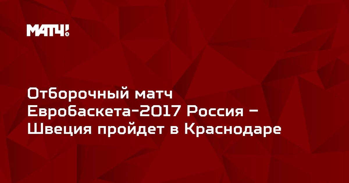 Отборочный матч Евробаскета-2017 Россия – Швеция пройдет в Краснодаре
