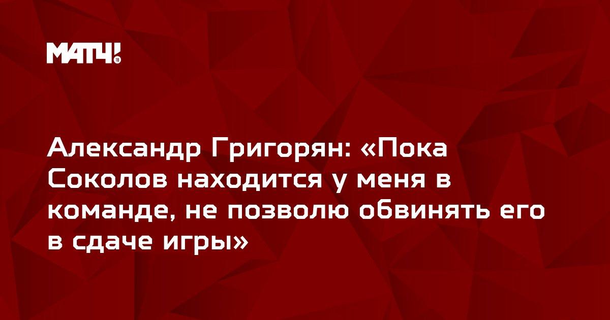 Александр Григорян: «Пока Соколов находится у меня в команде, не позволю обвинять его в сдаче игры»