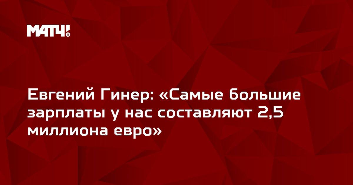 Евгений Гинер: «Самые большие зарплаты у нас составляют 2,5 миллиона евро»