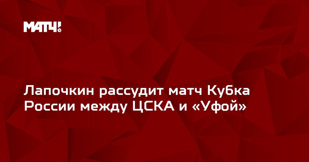 Лапочкин рассудит матч Кубка России между ЦСКА и «Уфой»