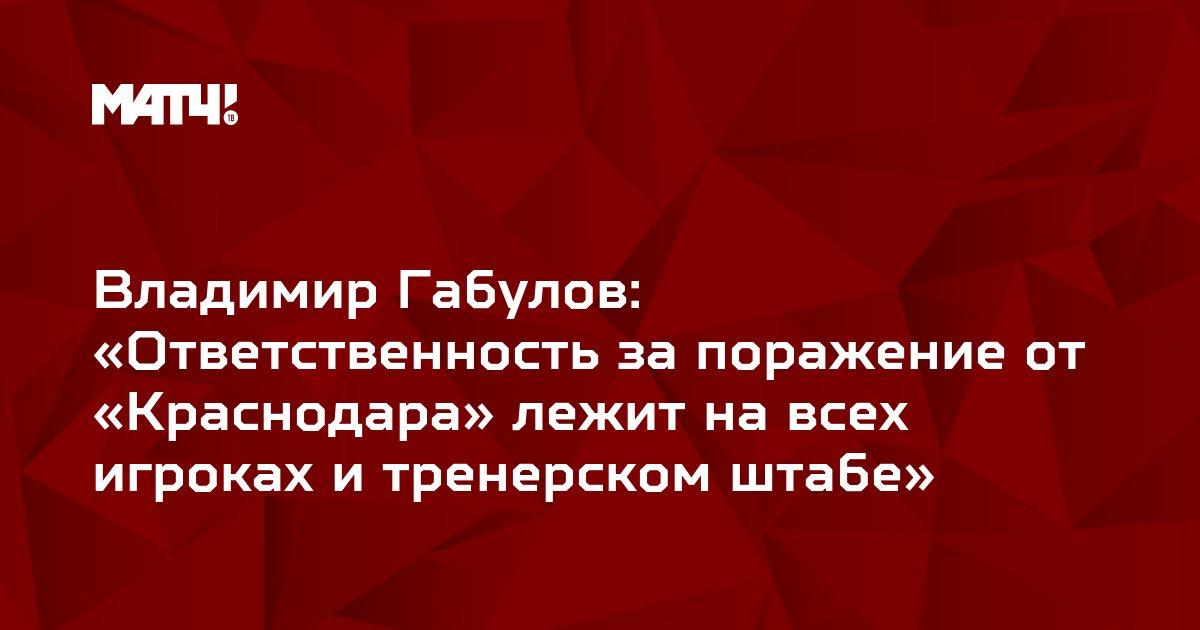 Владимир Габулов: «Ответственность за поражение от «Краснодара» лежит на всех игроках и тренерском штабе»