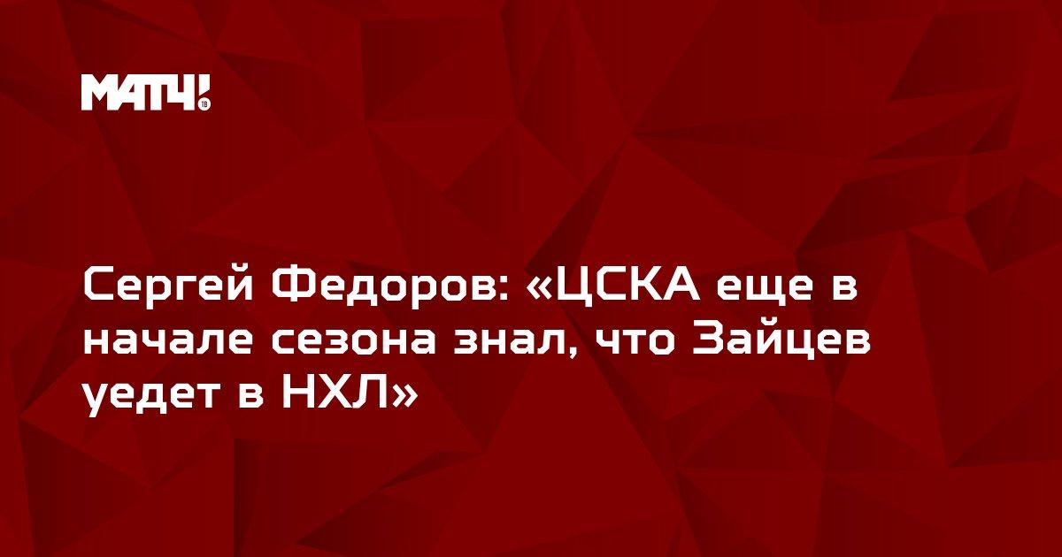 Сергей Федоров: «ЦСКА еще в начале сезона знал, что Зайцев уедет в НХЛ»