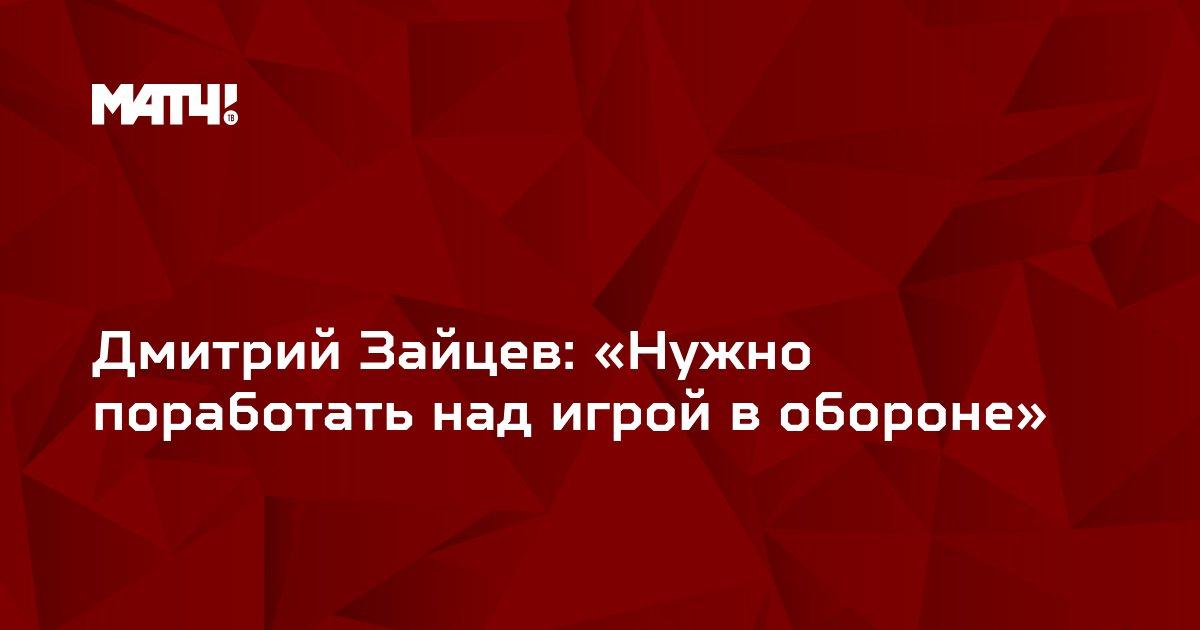 Дмитрий Зайцев: «Нужно поработать над игрой в обороне»