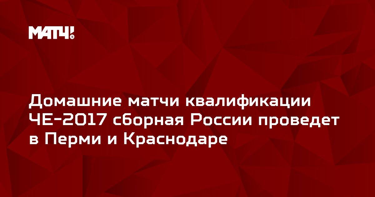 Домашние матчи квалификации ЧЕ-2017 сборная России проведет в Перми и Краснодаре