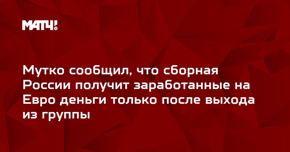 Мутко сообщил, что сборная России получит заработанные на Евро деньги только после выхода из группы