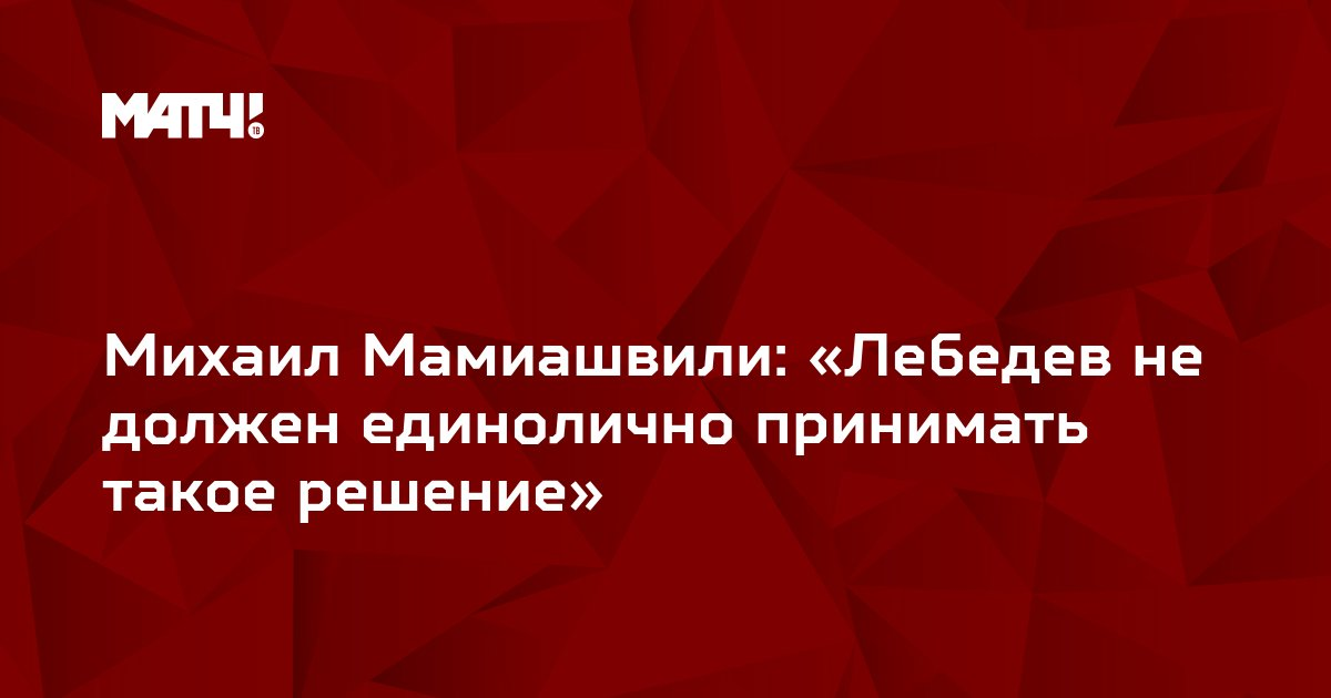 Михаил Мамиашвили: «Лебедев не должен единолично принимать такое решение»