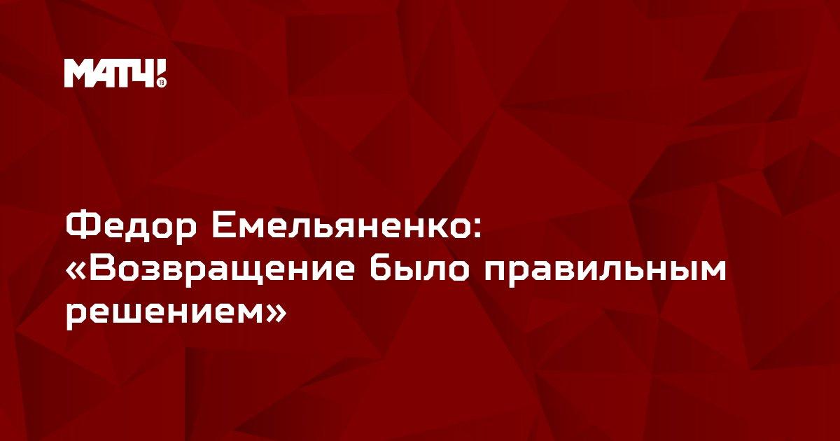Федор Емельяненко: «Возвращение было правильным решением»