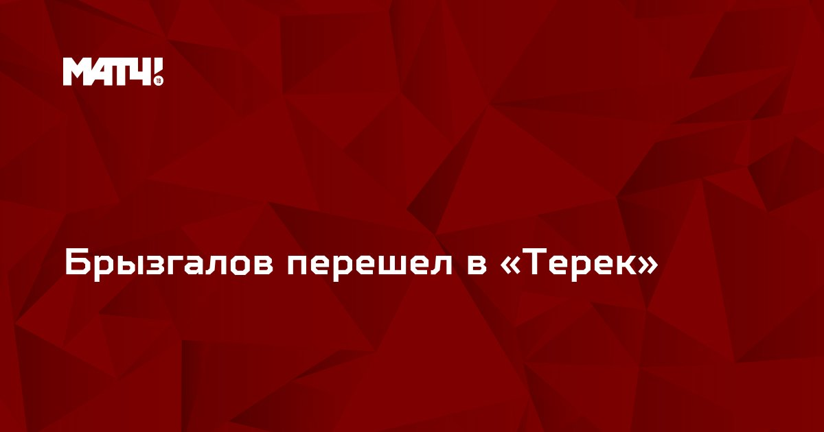 Брызгалов перешел в «Терек»