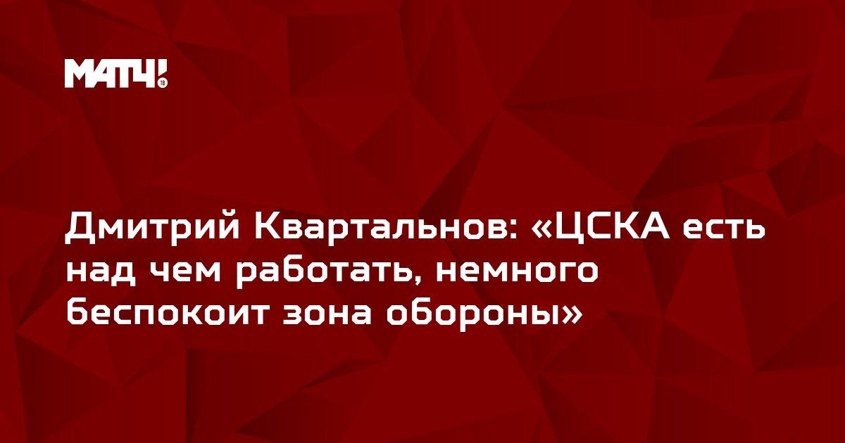 Дмитрий Квартальнов: «ЦСКА есть над чем работать, немного беспокоит зона обороны»