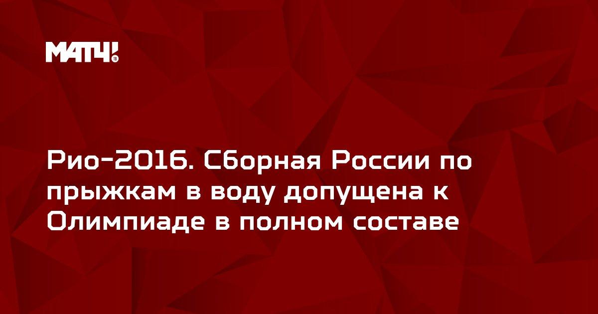Рио-2016. Сборная России по прыжкам в воду допущена к Олимпиаде в полном составе