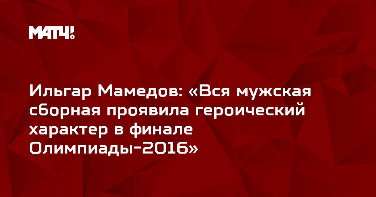 Ильгар Мамедов: «Вся мужская сборная проявила героический характер в финале Олимпиады-2016»