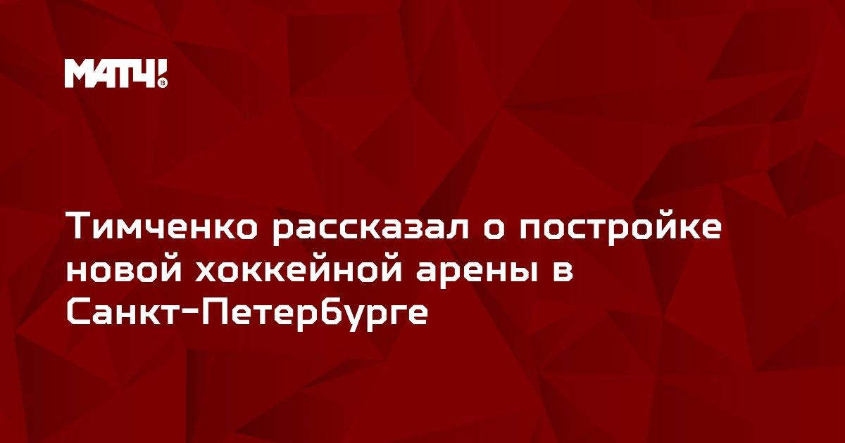Тимченко рассказал о постройке новой хоккейной арены в Санкт-Петербурге