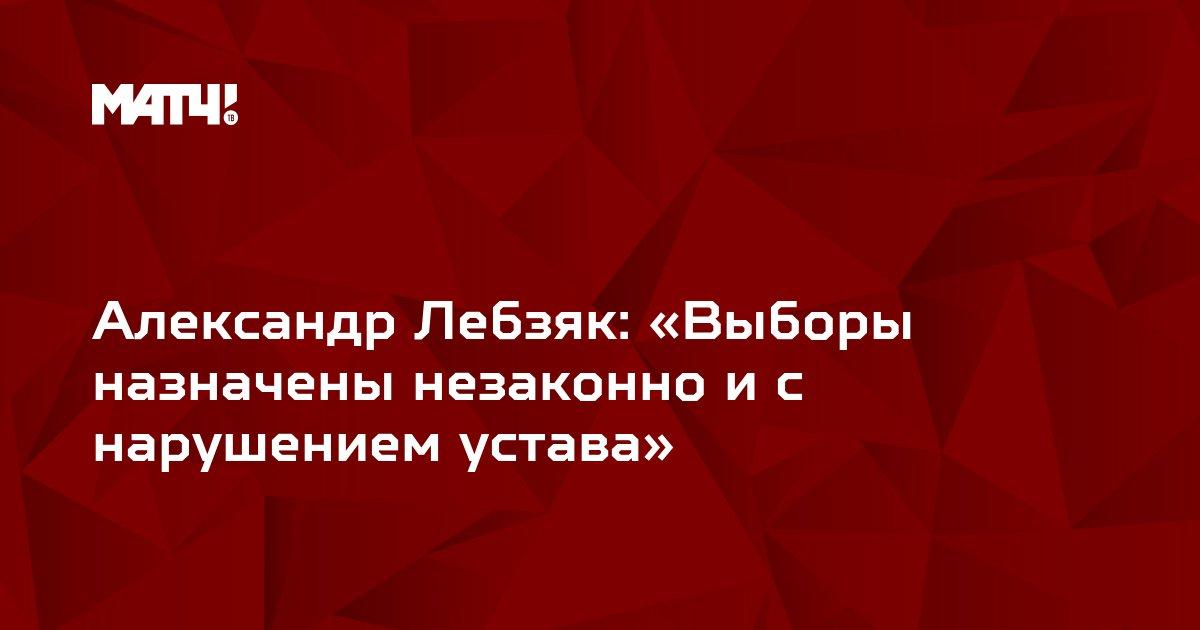 Александр Лебзяк: «Выборы назначены незаконно и с нарушением устава»