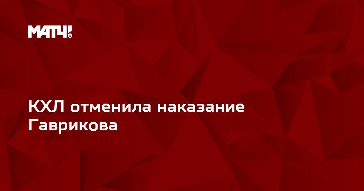 КХЛ отменила наказание Гаврикова
