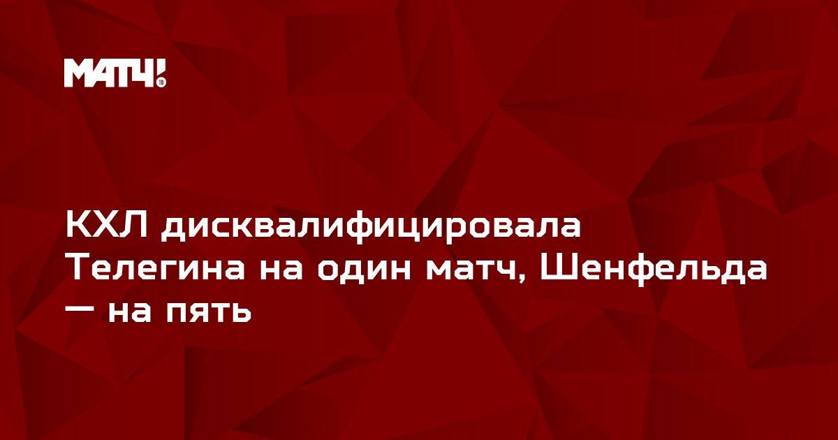КХЛ дисквалифицировала Телегина на один матч, Шенфельда — на пять