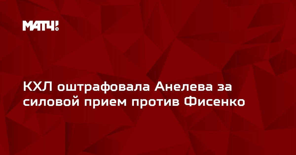 КХЛ оштрафовала Анелева за силовой прием против Фисенко