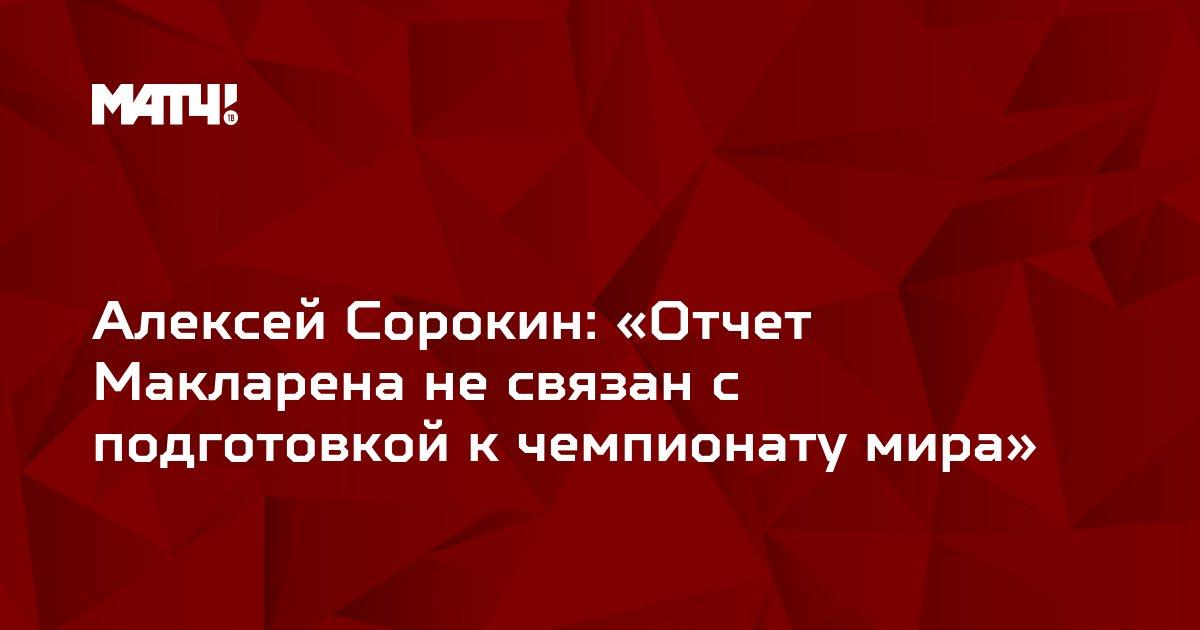 Алексей Сорокин: «Отчет Макларена не связан с подготовкой к чемпионату мира»