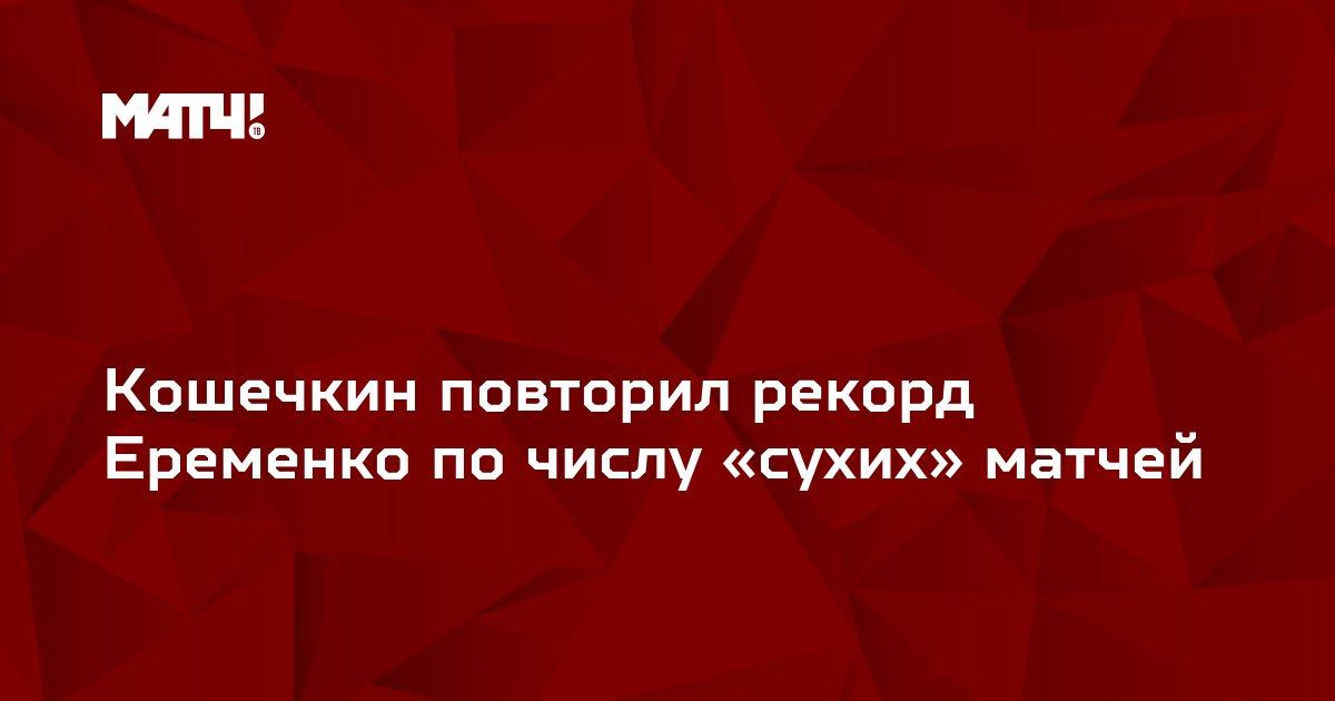 Кошечкин повторил рекорд Еременко по числу «сухих» матчей
