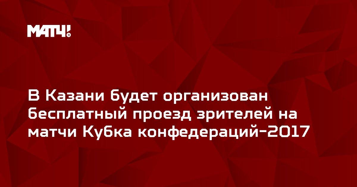 В Казани будет организован бесплатный проезд зрителей на матчи Кубка конфедераций-2017
