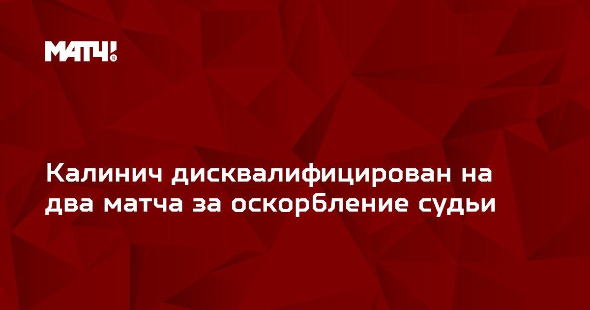 Калинич дисквалифицирован на два матча за оскорбление судьи