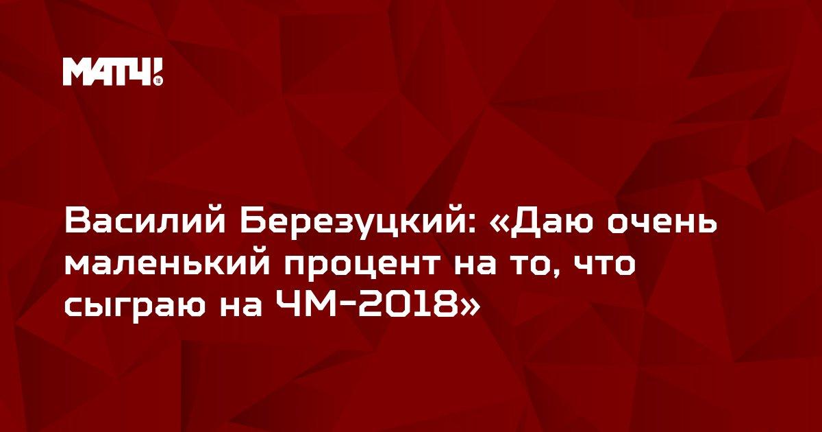 Василий Березуцкий: «Даю очень маленький процент на то, что сыграю на ЧМ-2018»