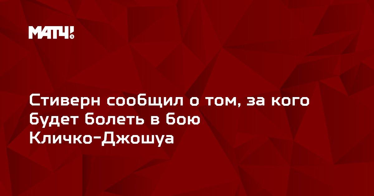 Стиверн сообщил о том, за кого будет болеть в бою Кличко-Джошуа