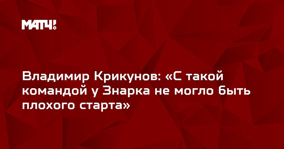 Владимир Крикунов: «С такой командой у Знарка не могло быть плохого старта»