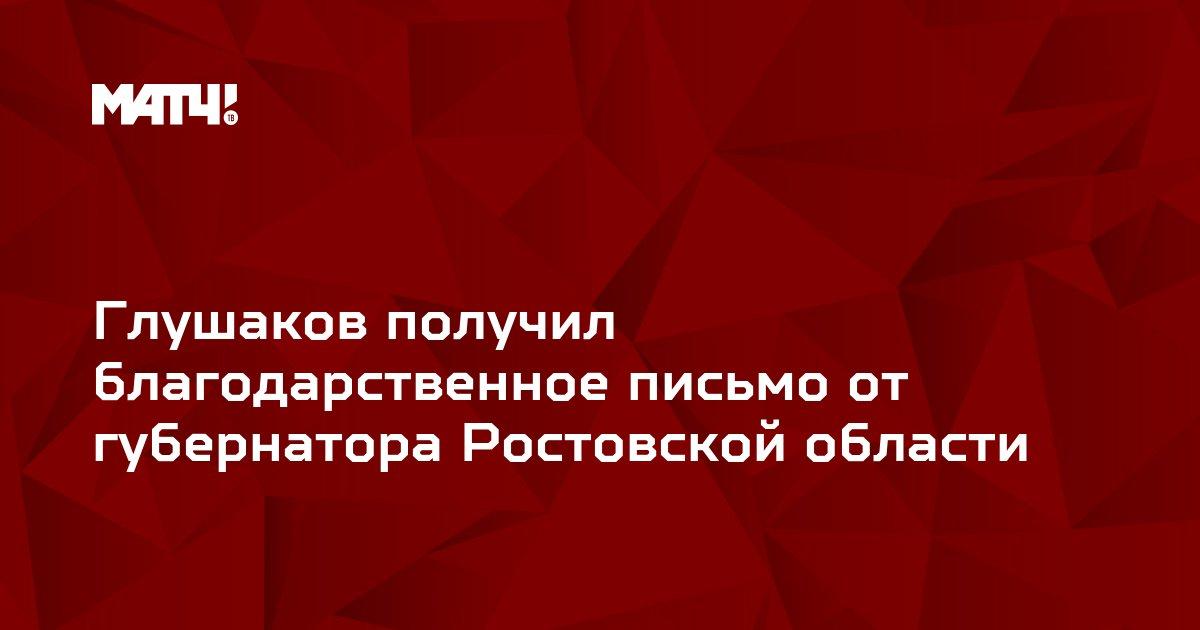 Глушаков получил благодарственное письмо от губернатора Ростовской области