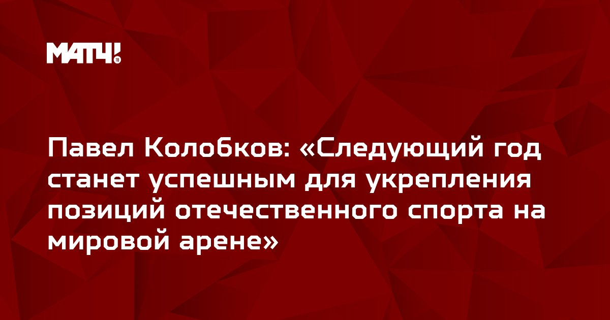 Павел Колобков: «Следующий год станет успешным для укрепления позиций отечественного спорта на мировой арене»