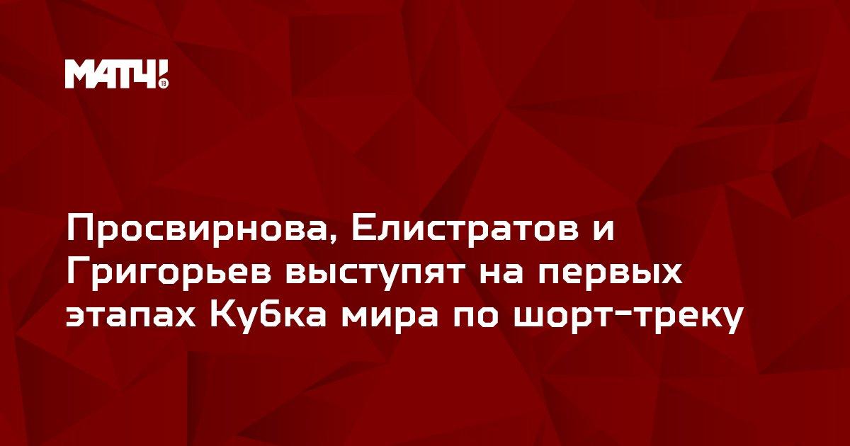 Просвирнова, Елистратов и Григорьев выступят на первых этапах Кубка мира по шорт-треку