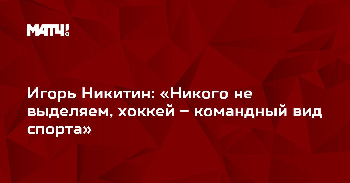 Игорь Никитин: «Никого не выделяем, хоккей – командный вид спорта»