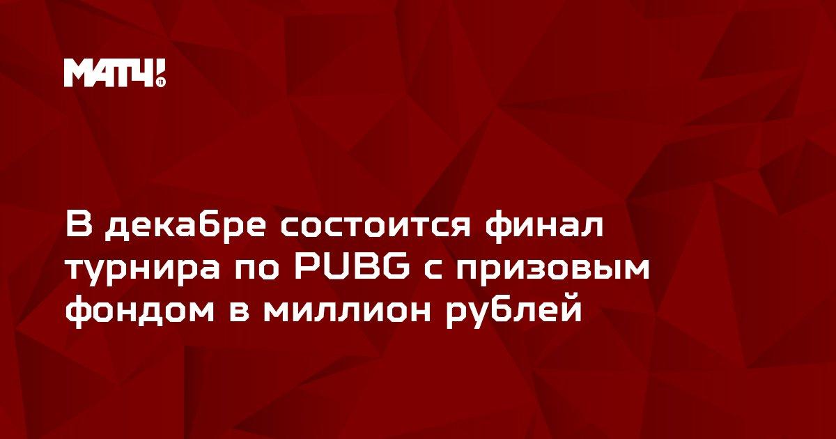 В декабре состоится финал турнира по PUBG с призовым фондом в миллион рублей