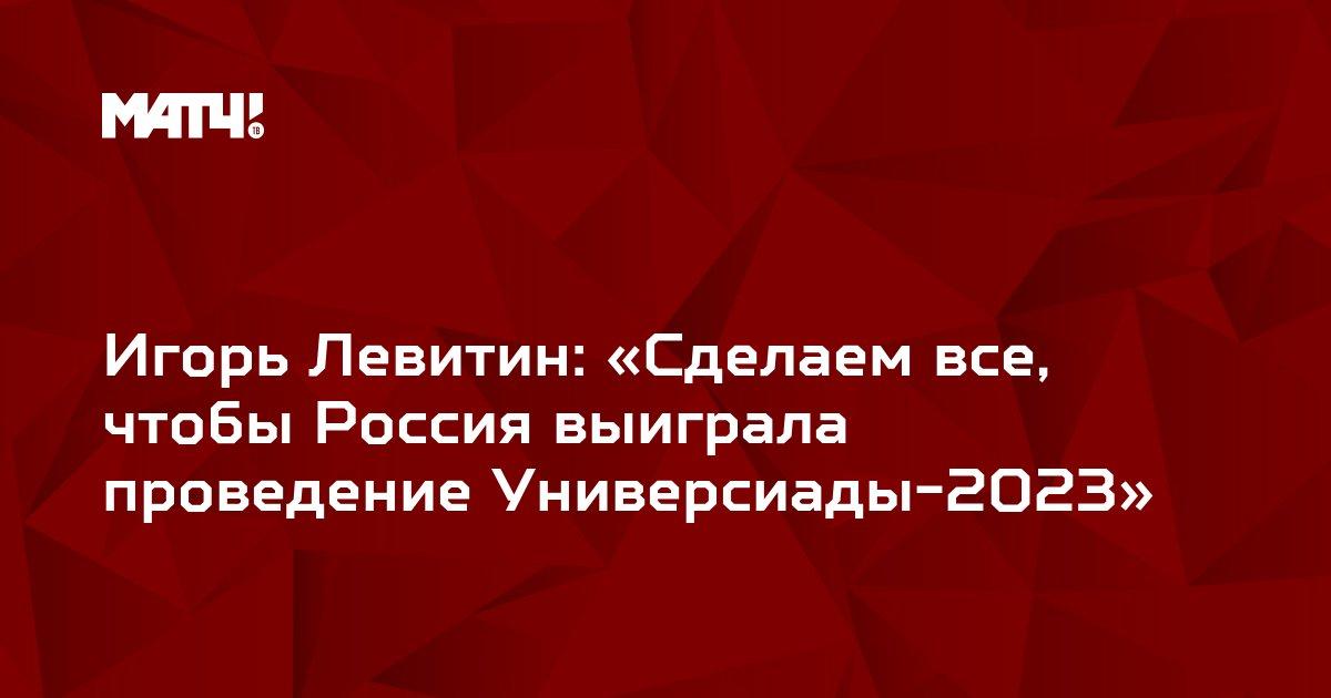 Игорь Левитин: «Сделаем все, чтобы Россия выиграла проведение Универсиады-2023»