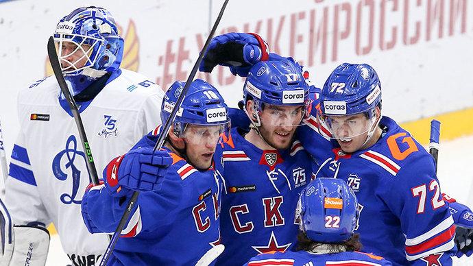 СКА победил московское Динамо и возглавил Западную конференцию КХЛ