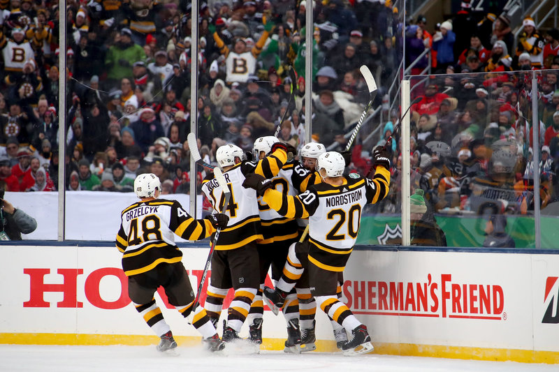... after Sean Kuraly  52 scored a goal in the third period against the  Chicago Blackhawks during the 2019 Bridgestone NHL Winter Classic at Notre  Dame ... 296ef0ff8