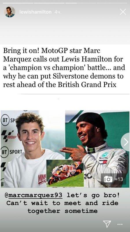 «Поехали, бро!» Хэмилтон принял вызов пятикратного чемпиона MotoGP и готов пересесть на мотоцикл