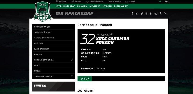 В «Краснодаре» объяснили наличие профиля Саломона Рондона на официальном сайте клуба