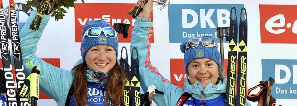 Как российские биатлонистки выиграли сразу две медали в Антхольце