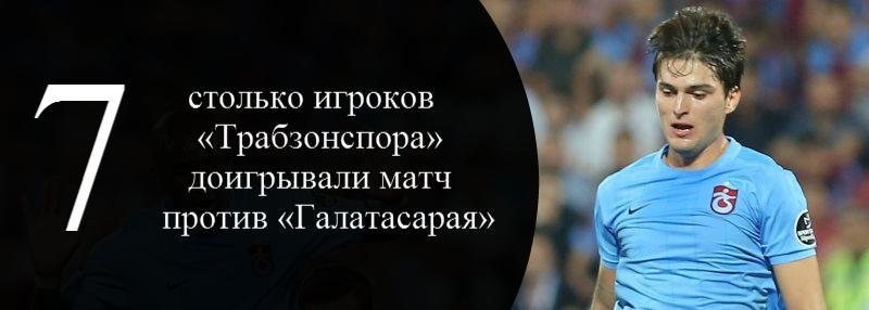 Цифра дня. 7 игроков «Трабзонспора» доигрывали матч с «Галатасараем»