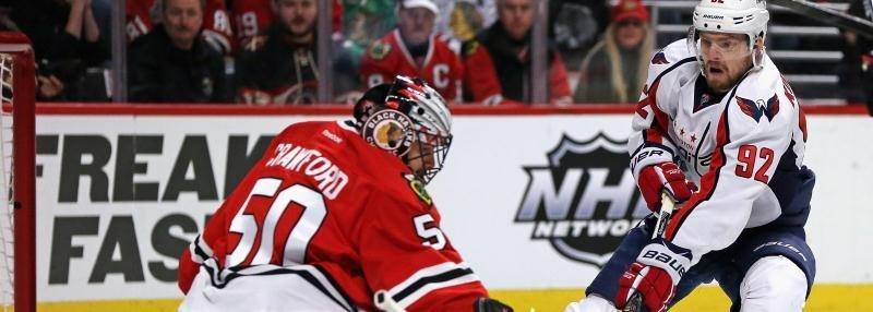 Гол Евгения Кузнецова из-за ворот в самом русском матче НХЛ