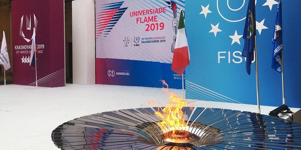 Этап эстафеты огня зимней Универсиады-2019 прошел в Алма-Ате