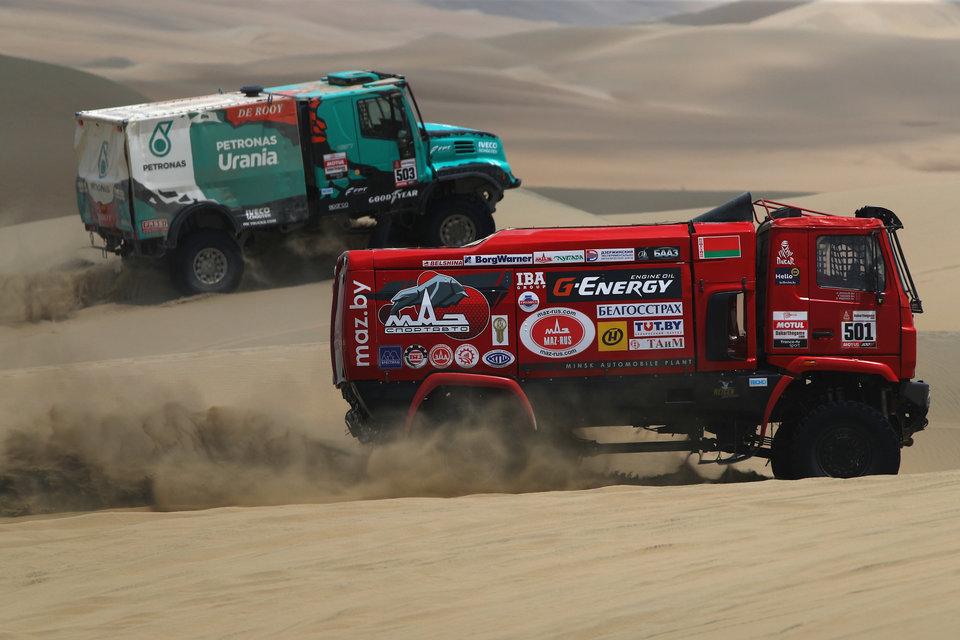 Экипаж Вязовича возглавил общий зачет «Дакара» среди грузовиков после второго этапа, Сотников и Каргинов расположились следом