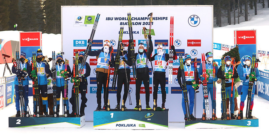 Сборная России завоевала первую медаль на ЧМ-2021, выиграв бронзу в мужской эстафете