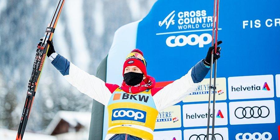 Большунов завоевал серебро в спринте в Давосе и возглавил общий зачет Кубка мира