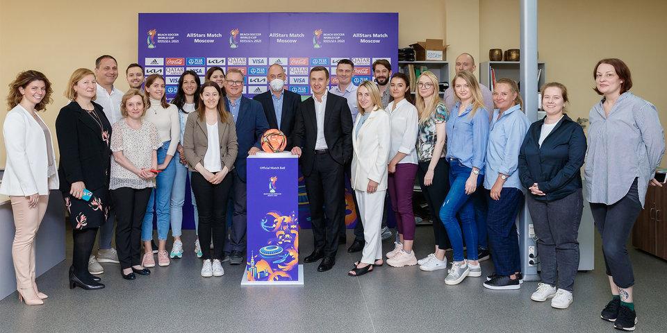 В Лужниках прошла рабочая встреча представителей ФИФА и Оргкомитета чемпионата мира-2021 по пляжному футболу