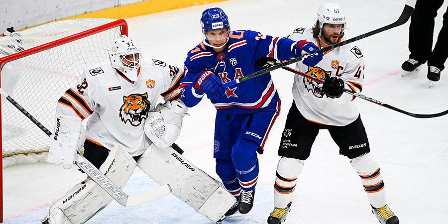 Дубль Бурдасова помог СКА победить «Амур» в КХЛ