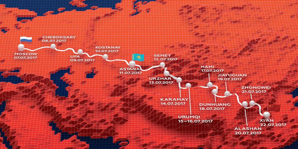 Карта маршрута ралли «Шелковый путь»